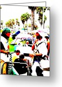 Funkpix Greeting Cards - Venice Beach artsy crowd Greeting Card by Funkpix Photo  Hunter