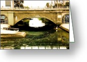 Somber Greeting Cards - Venice Beach Canal Greeting Card by Daniele Smith
