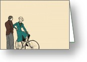 Bicycle Greeting Cards - Vintage Bike Couple Greeting Card by Karl Addison