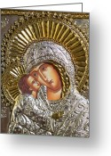 Religious Art Digital Art Greeting Cards - Virgin Mary with Child Jesus Greek Icon Greeting Card by Jake Hartz