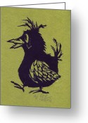 Linoleum Greeting Cards - Walking Bird with green background Greeting Card by Barry Nelles Art