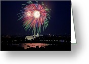 4th Greeting Cards - Washington DC Fourth of July Fireworks Greeting Card by Carol M Highsmith