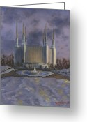 Jesus Painting Greeting Cards - Washington DC Temple Greeting Card by Jeff Brimley
