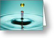 Dye Greeting Cards - Water Landing Greeting Card by Ryan Heffron