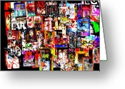 Abstract Collage Greeting Cards - Welcome to Barcelona Graffiti Nirvana Greeting Card by Funkpix Photo  Hunter