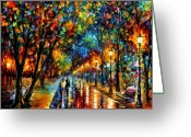 Afremov Greeting Cards - When Dreams Come True  Greeting Card by Leonid Afremov