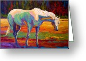 Cowboy Greeting Cards - White Mare II Greeting Card by Marion Rose
