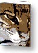 Wild Cat Greeting Cards - Wild cat Greeting Card by David Lee Thompson