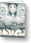 Storm Drawings Greeting Cards - Wind Spirit Dances Greeting Card by Amy S Turner