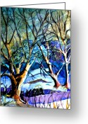 Winter Trees Greeting Cards - Winter Storm Greeting Card by Mindy Newman