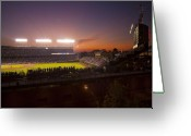 Baseball Game Greeting Cards - Wrigley Field at Dusk Greeting Card by Sven Brogren