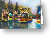 Bright Pastels Greeting Cards - Xochimilco Greeting Card by Candy Mayer