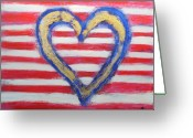 Red White And Blue Mixed Media Greeting Cards - Yes We Can Greeting Card by Rochelle Carr