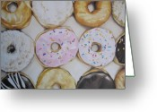 Donuts Greeting Cards - Yummy Donuts Greeting Card by Jindra Noewi