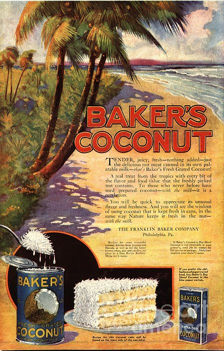 1910s Usa Bakers Coconuts Cakes Baking Print by The Advertising Archives