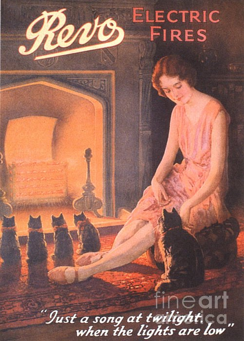 1920s Uk Fires Cats Revo  Appliances Print by The Advertising Archives