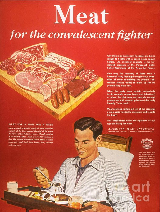 1940s Usa Convalescents Meat Eating Print by The Advertising Archives
