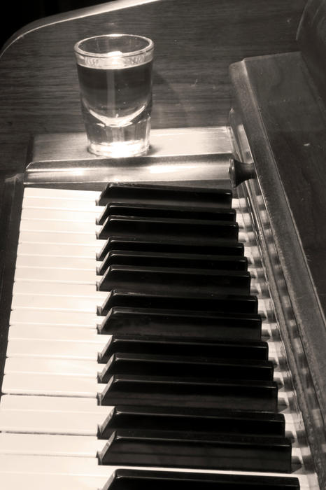A Shot Of Bourbon Whiskey And The Bw Piano Ivory Keys In Sepia Print by James BO  Insogna