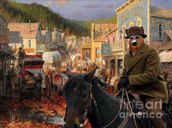Australian Cattle Dog Canvas Print - Gold Town Print by Sandra Sij