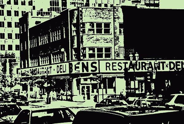 Ben's Resto Delicatessan Lunchtime Crowds And Traffic Jams Vintage Montreal Memorabilia Print by Carole Spandau