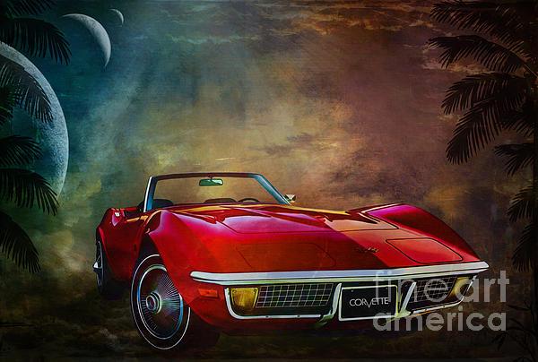 Chevrolet Corvette1972 Print by Andrzej Szczerski