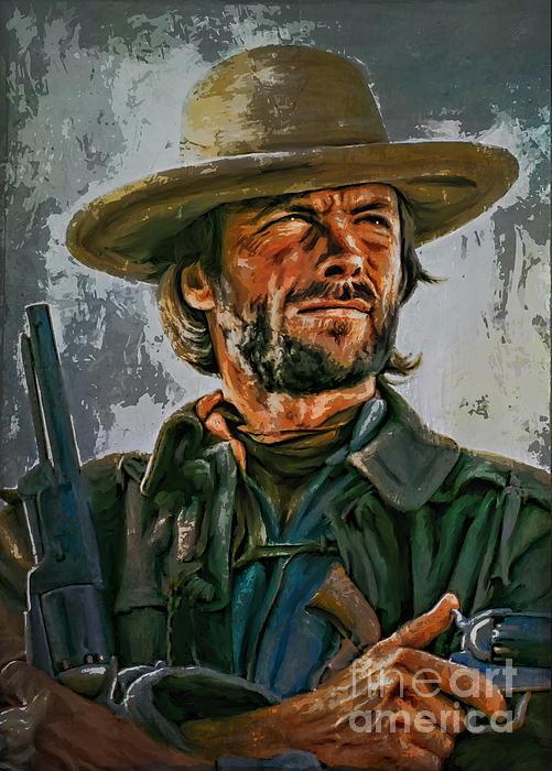 Clint Eastwood Print by Andrzej Szczerski