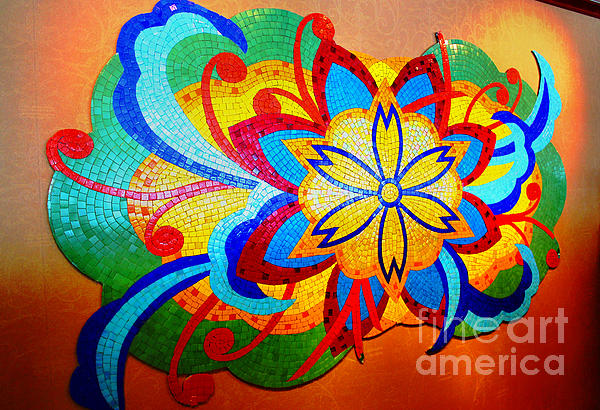 Colorful Tile Abstract Print by Judy Palkimas