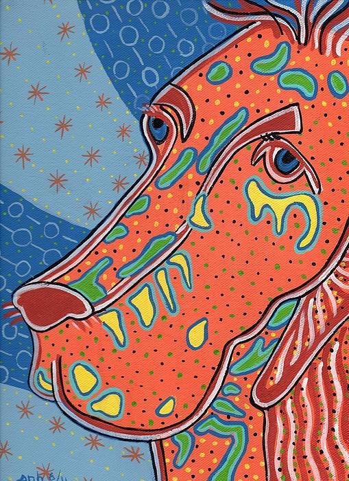 Folk Art Dog Doxiepoo Print by Sarah  Niebank