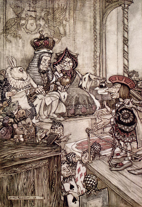 Knave Before The King And Queen Of Hearts Illustration To Alice S Adventures In Wonderland Print by Arthur Rackham
