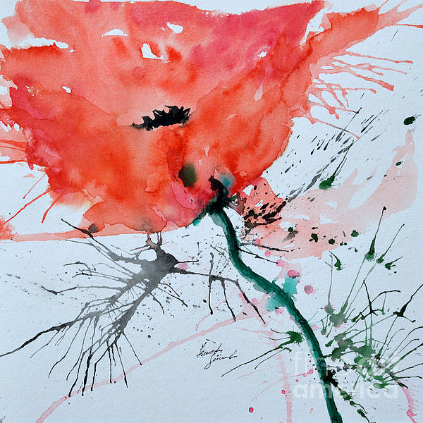 Lonely Poppy Print by Ismeta Gruenwald