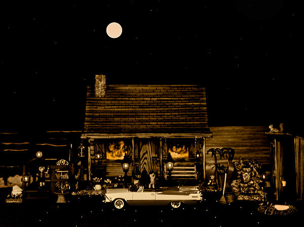 Miniature Log Cabin Scene With The Classic Old Vintage 1959 Dodge Royal Convertible In Sepia Color Print by Leslie Crotty