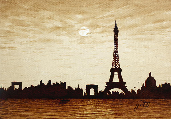 Paris Under Moonlight Silhouette France Print by Georgeta  Blanaru