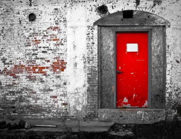 Red Door Perception Print by Bob Orsillo