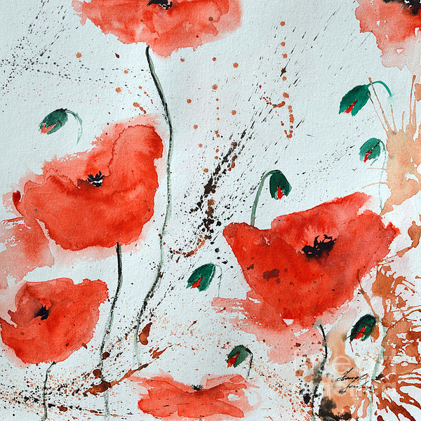 Red Poppies  Print by Ismeta Gruenwald