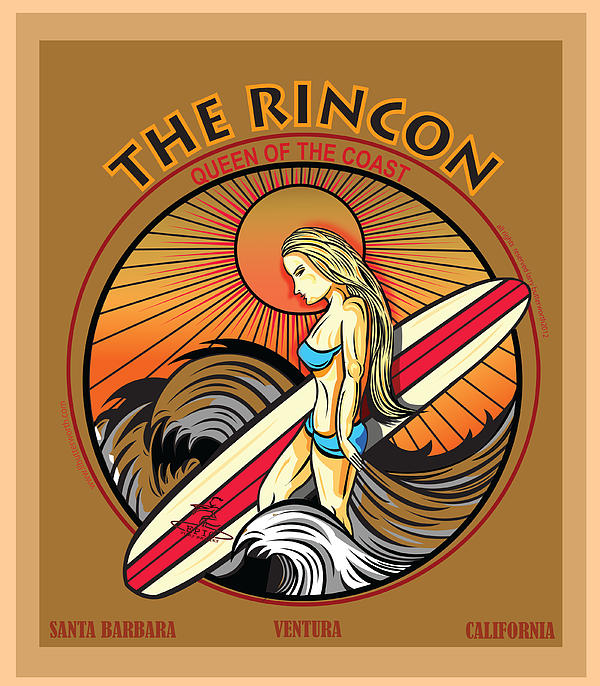Rincon Ventura California Surfing Print by Larry Butterworth