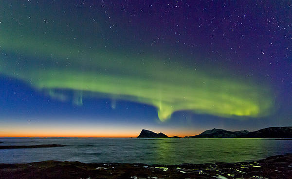 Sunset And Aurora Oval Print by Frank Olsen