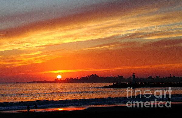 Sunset At Santa Cruz Harbor 1 Print by Theresa Ramos-DuVon