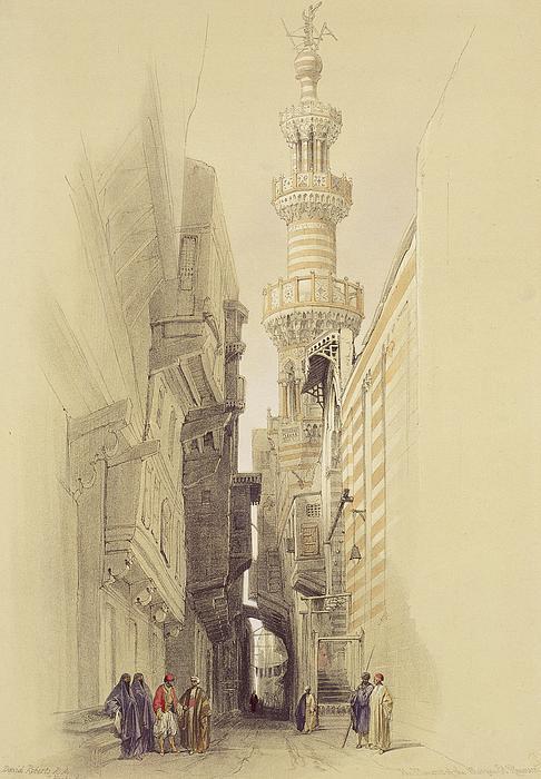 The Minaret Of The Mosque Of El Rhamree Print by David Roberts