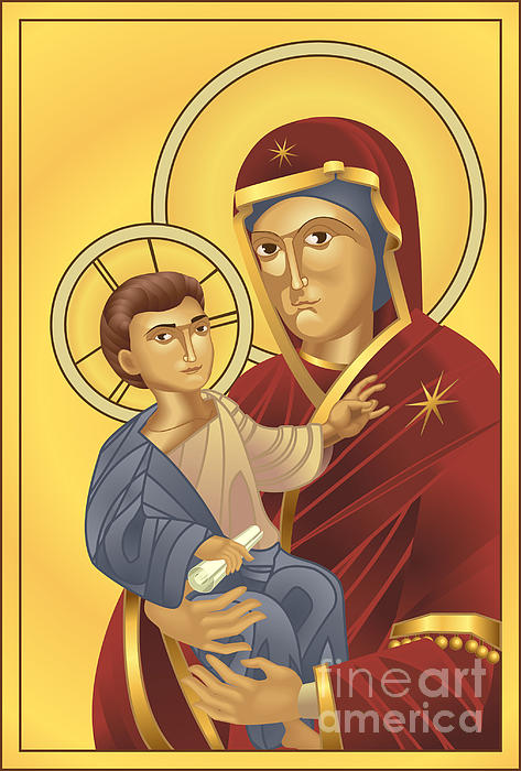Virgin Mary And Jesus Christ Print by Christos Georghiou
