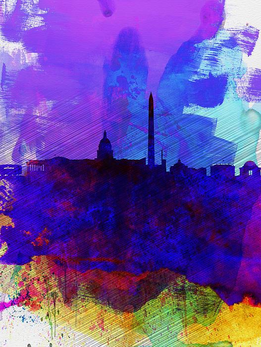Washington Dc Watercolor Skyline 2 Print by Naxart Studio