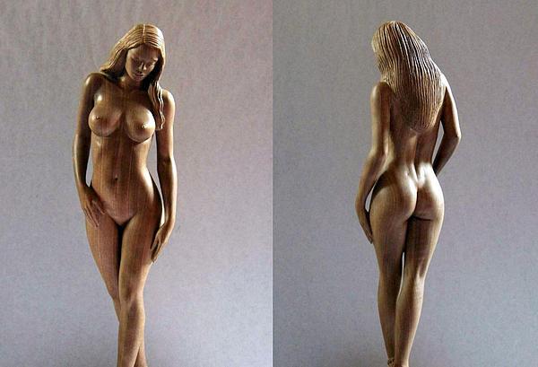 Wood Sculpture Of Naked Woman Print by Carlos Baez Barrueto