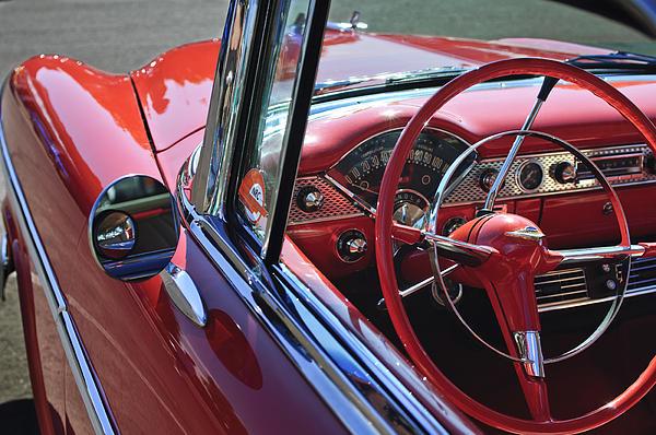1955 Chevrolet Belair Steering Wheel Print by Jill Reger
