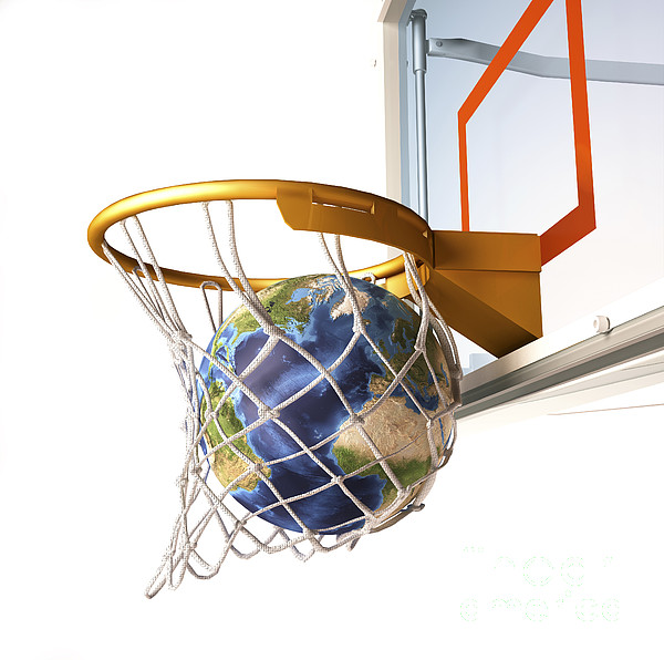 3d Rendering Of Planet Earth Falling Print by Leonello Calvetti