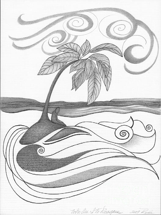 Abstract Art Tropical Black And White Drawing Who Am I To Disagree By Romi Print by Megan Duncanson