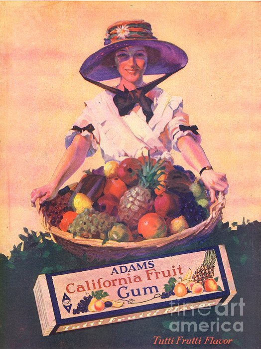 Adams California Fruit Gum 1910s Usa Print by The Advertising Archives