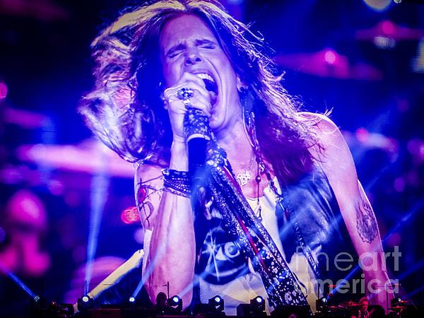 Aerosmith Steven Tyler Singing In Concert Print by Jani Bryson