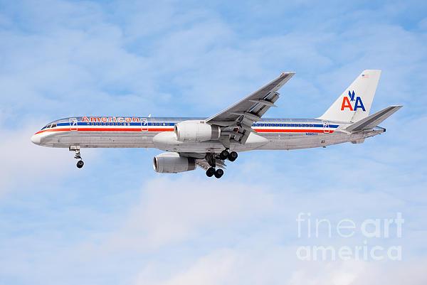 Amercian Airlines Boeing 757 Airplane Landing Print by Paul Velgos