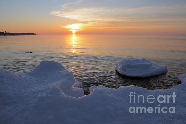An Icy  Superior Sunrise Print by Sandra Updyke