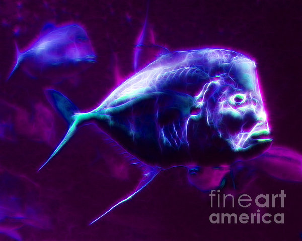 Big Fish Small Fish - Electric Print by Wingsdomain Art and Photography