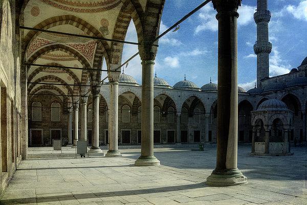 Blue Mosque Courtyard Print by Joan Carroll